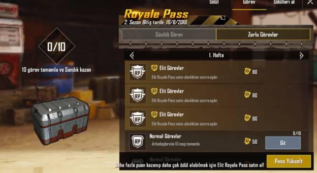 royale pass görevleri