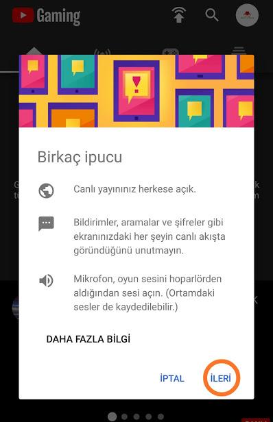 Telefondan Youtube'ta Ekran Paylaşma Canlı Yayın